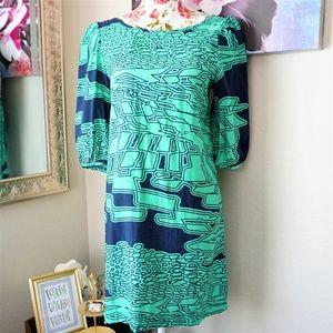 Needle & Thread   Navy & Green Casual Dress Size S